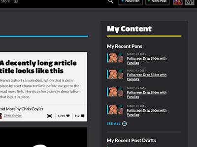 CodePen Homepage css posts pens black codepen