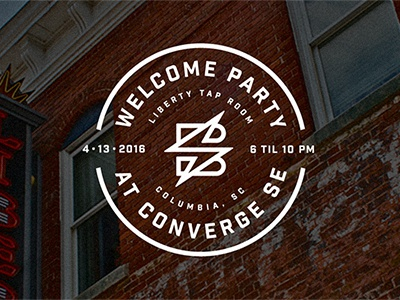 Welcome Party at Converge SE liberty tap room columbia south carolina sc brick converge sparkbox crest badge