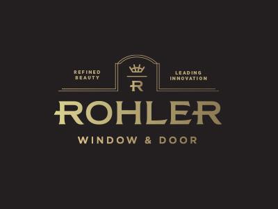 Rohler Window & Door Logo home rule lines logo crown door window gold foil foil gold black