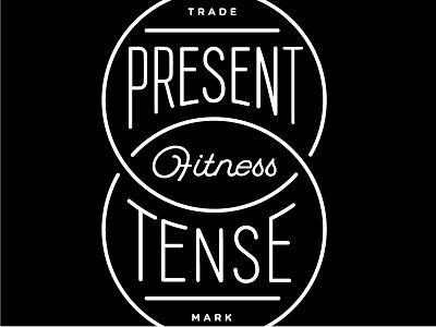 Present Tense Fitness Logo – Secondary stacked trade mark fitness circles white black logo
