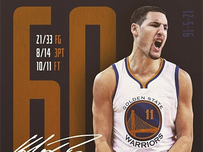 Klay Thompson goes for 60 muted blue gold signature points 60 golden state warriors basketball nba sports