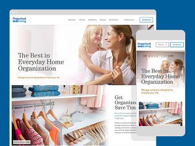 Organized Living homepage website lifestyle blue organization