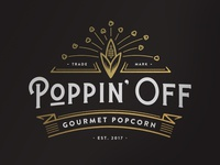 Poppin' Off Logo banner vintage white black gold food popcorn logo