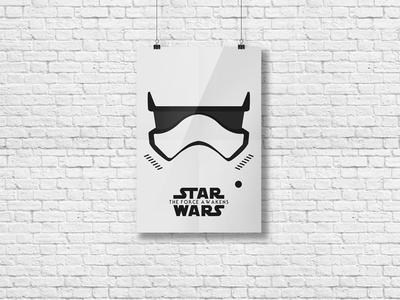 Stormtrooper Poster illustrator mockup poster illustration vector flat design star wars the force awakens stormtrooper helmet sketch