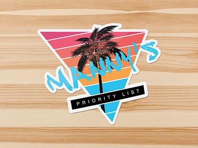 Manny Vice Sticker summer beach print design palm tree vice mockup photoshop sketch illustrator illustration sticker