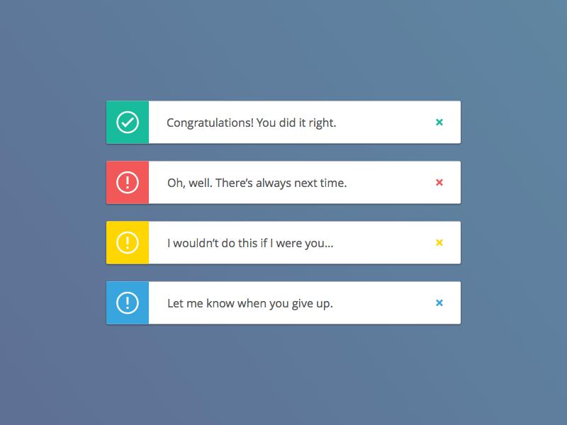Condescending Messages app ios flat web notifications ui ux messages alerts