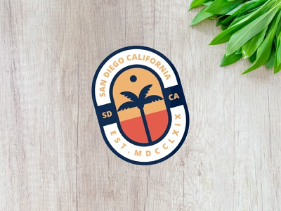 San Diego Sticker mockup vector sticker palm tree affinity affinitydesigner illustration