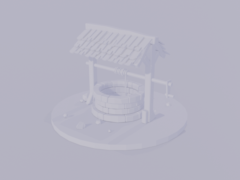 Low Poly Well illustration well water polygon poly render clay isometric b3d c4d blender 3d
