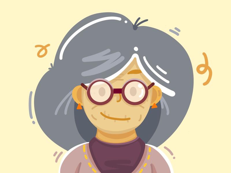 Grandma people old women ipad pro illustration character designs character