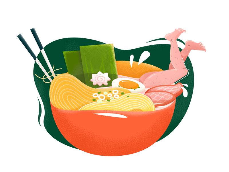Japanese ramen legs bowl noodles food japanese ramen japanese food japan flat vector illustration ramen