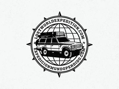 Lost World Refresh logo refresh badge truck land cruiser globe compass