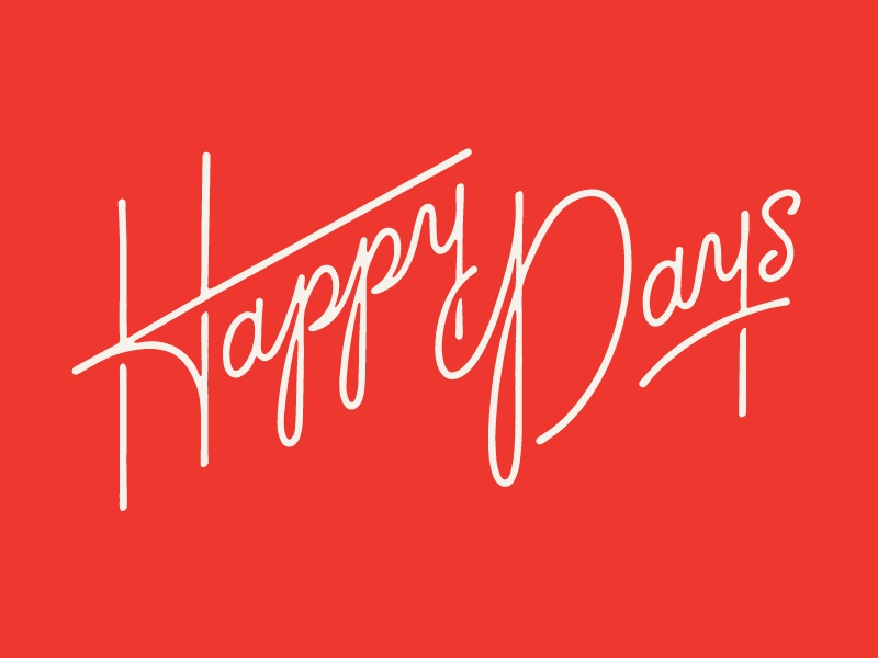 Happy Days monolinear shadows script