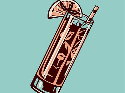 Iced Tea reflection illustration glass drink