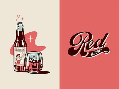 Red Rhuby vintage swash script lettering illustration cocktail