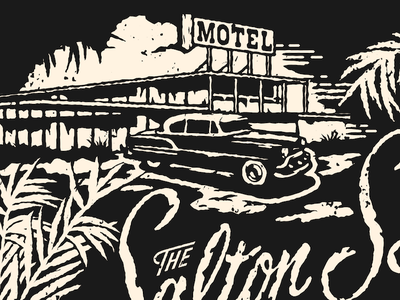 Motel vintage car palms script grunge texture illustration motel
