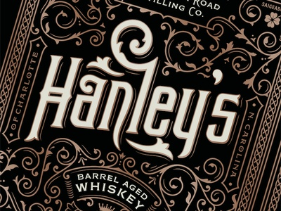 Hanley's celtic irish lettering filigree whiskey