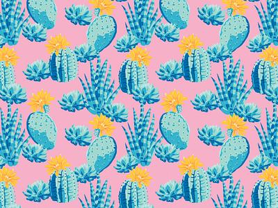 Cactus Print tropical tileable pattern succulent cactus