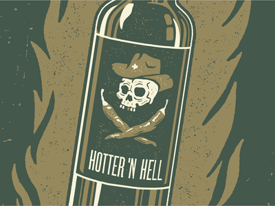 Hotter 'n Hell texture hot cowboy hat texas skull chiles flames fire bottle hot sauce