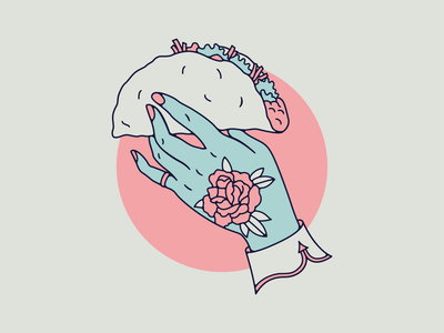 Taco hand rose tattoo illustration taco