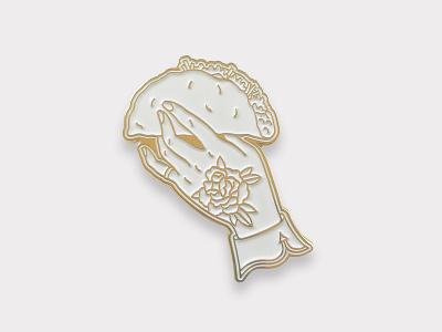 Taco Pin in white pin enamel taco