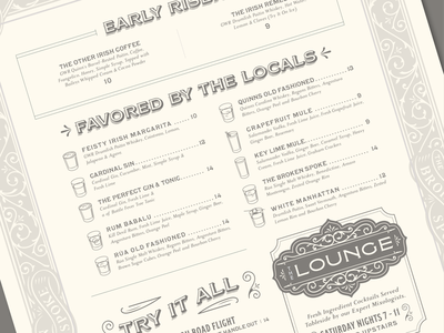 Broken Spoke Menu identity design filigree menu cocktails