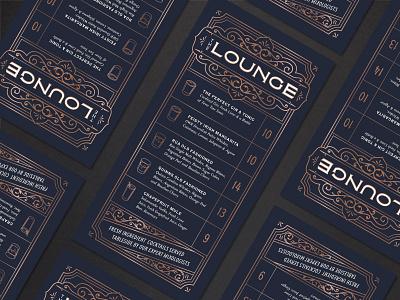 The Lounge Cocktail Menu menu cocktail filigree ornament copper