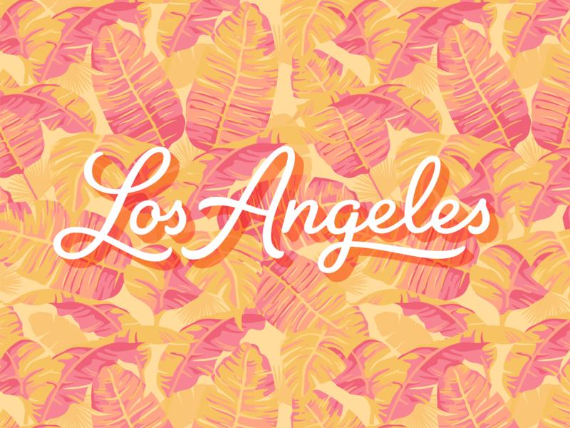 Los Angeles logotype type script illustration california tropical losangeles palms pattern lettering logotype