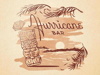 Hurricane Bar custom type illustration texture cocktail ocean wind tropical palm leaves tiki lettering script
