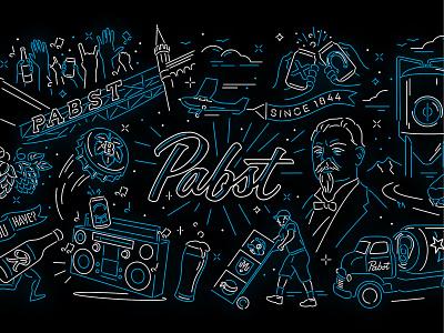 Pabst Digital Mural neon sign cheers music stereo beer pabst neon mural