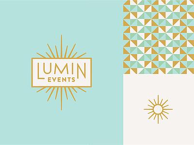 Lumin Events brand identity logo logotype sun shine burst branding