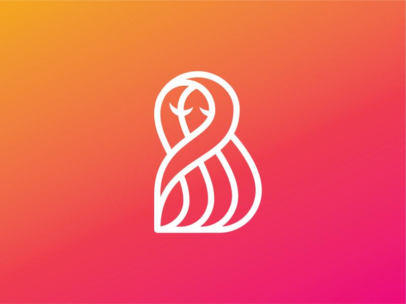 Makeup Studio Logo line gradient make up girl hair logo design logo brand identity branding monogram b logo gradient logo