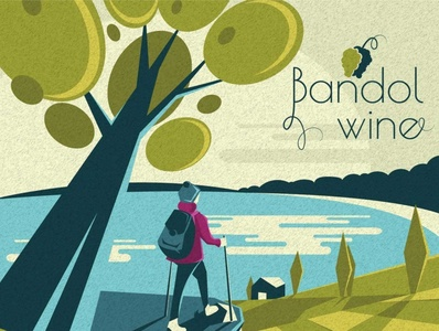 Bandol wine landing page productdesign illustration branding simple design flat vector minimal illustrator bandol landscape