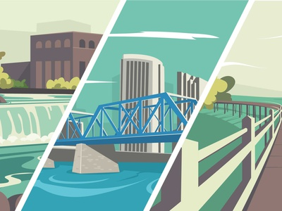 Michigan blue bridge grand rapids simple flat landscape vector simple design illustrator minimal illustration