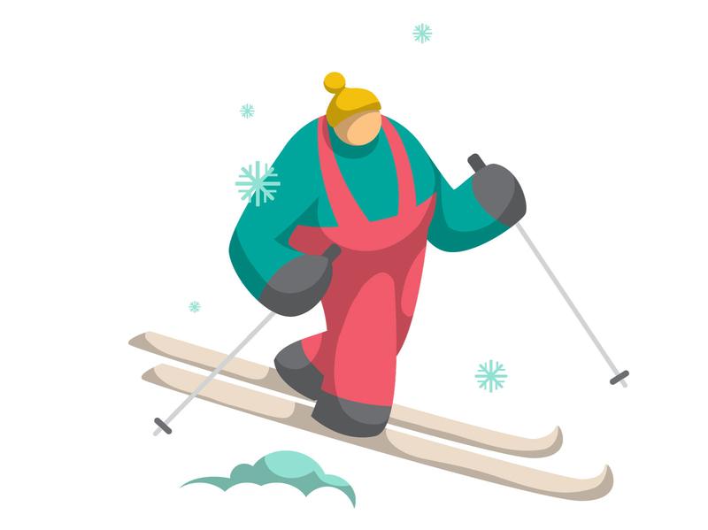 Skier funny character vector minimal illustration simple design bigfoot sport winter skier snow