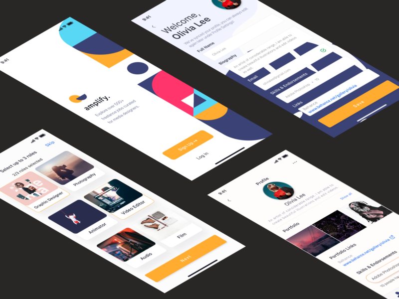 Amplify - Freelance App figma mobile application design app design application ui application design application mobile application mobile ui app ui design