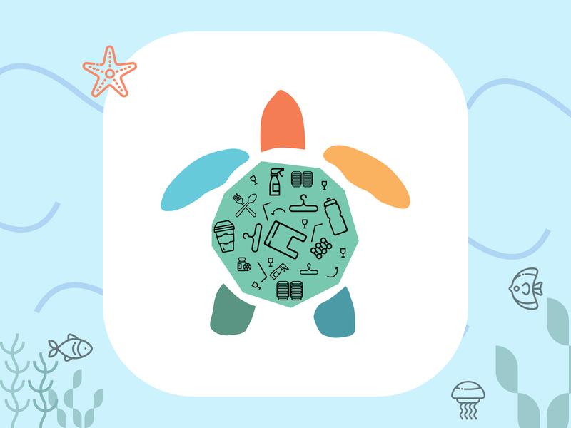 Save Sea Turtles icon animal campaign ui no plasic