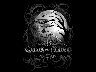 quoth the raven halloween midnight moon black t-shirt design awesome cool ominous horror illustration crow bird gothic dark poe poem raven