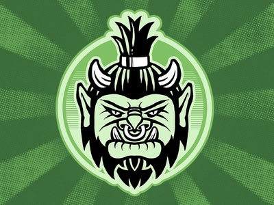 ork head green emblem t-shirt design awesome cool mascot illustration portrait head character epic fantasy monster creature ogre ork
