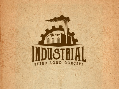 retro industrial logo concept design cogwheel identity branding awesome cool factory industry gear for sale logo concept logo design logo steampunk industrial retro