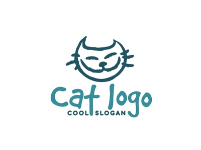 cat logo concept identity branding awesome cool cartoon mascot optimistic happy cute positive feline animal pet cat