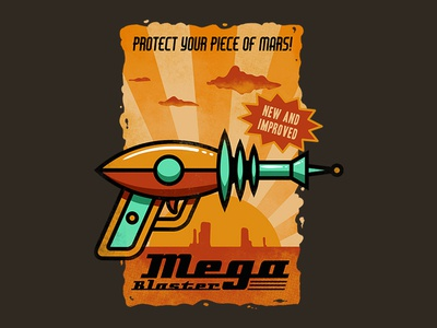 mega blaster nerd geek space mars pop culture awesome cool campy futuristic vintage retro science fiction sci fi laser gun laser blaster ray gun raygun