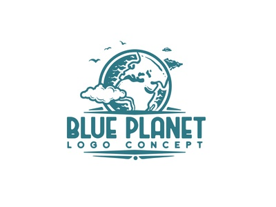 blue planet logo concept adventure travel awesome cool retro earth green clean ecology environmental planet identity branding logo design logo for sale logo