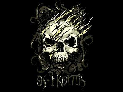 skull os frontis death skeleton gothic scary alternative punk metal horror awesome cool illustration t shirt design skull