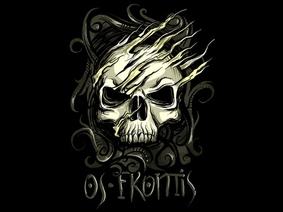 skull os frontis death skeleton gothic scary alternative punk metal horror awesome cool illustration t shirt design skull