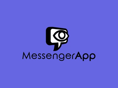 messenger app logo concept social networks communication chat bubble eye awesome cool minimalistic logo concept logo design app logo