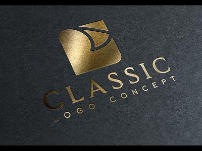 classic logo concept for sale print publishing book page paper corporate sophisticated sleek clean simple classy elegant gold foil logo design logo