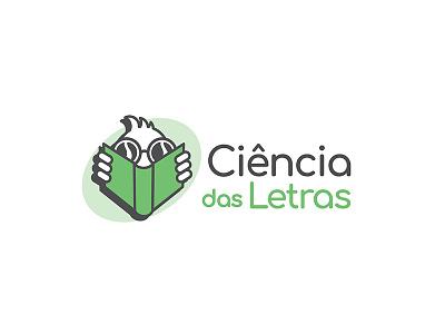 ciencia das letras logo writing library nerd literature books mascot graphic design logo concept logo design logo