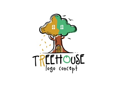 treehouse logo concept happy awesome cool positive sweet cute logo design logo cartoon illustration childrens illustration ecology nature tree playful childish