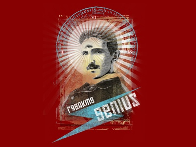 freaking genius consciousness inventor visionary third eye awesome cool design t-shirt poster genius tesla