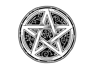 pentacle t-shirt design illustration line art awesome cool charm amulet mystical five pointed star symbol pentacle